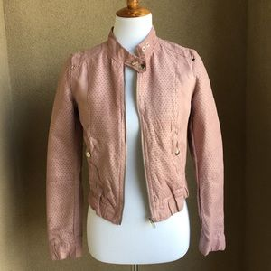 Forever 21 blush pink suede moto bomber jacket, S